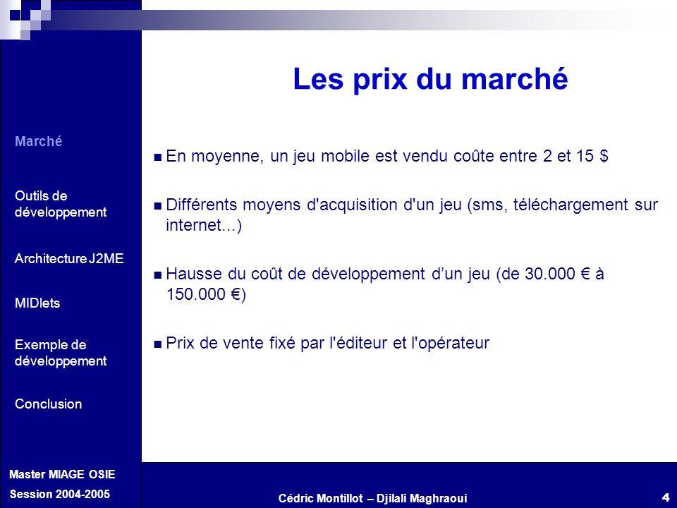 Cédric Montillot – Djilali Maghraoui Master MIAGE OSIE Session 2004-2005 4 Les prix du marché En moyenne, un jeu mobile est vendu coûte entre 2 et 15