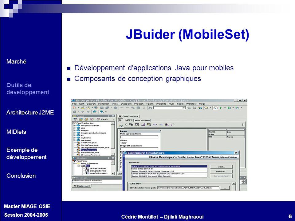Cédric Montillot – Djilali Maghraoui Master MIAGE OSIE Session 2004-2005 6 Développement dapplications Java pour mobiles Composants de conception grap