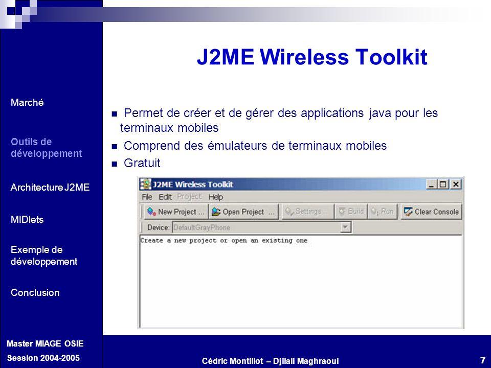 Cédric Montillot – Djilali Maghraoui Master MIAGE OSIE Session 2004-2005 7 Permet de créer et de gérer des applications java pour les terminaux mobile