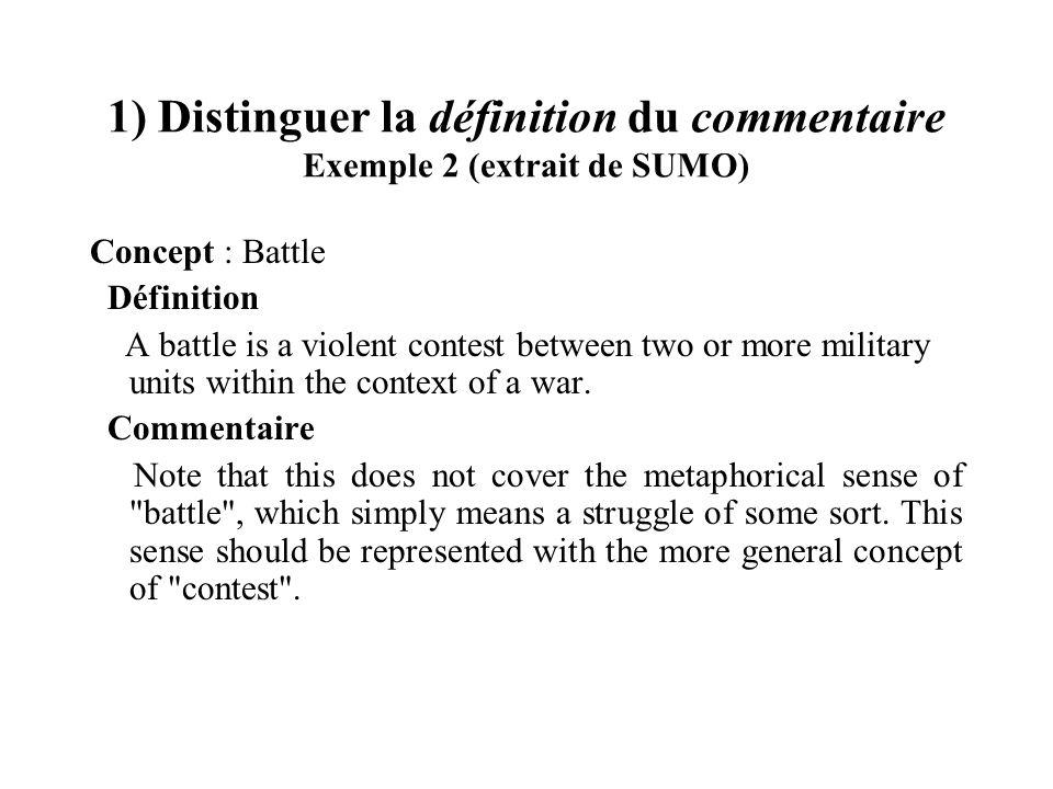 1) Distinguer la définition du commentaire Exemple 2 (extrait de SUMO) Concept : Battle Définition A battle is a violent contest between two or more m