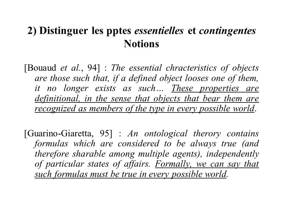 2) Distinguer les pptes essentielles et contingentes Notions [Bouaud et al., 94] : The essential chracteristics of objects are those such that, if a d