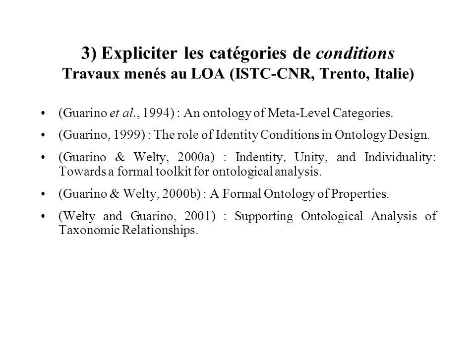 3) Expliciter les catégories de conditions Travaux menés au LOA (ISTC-CNR, Trento, Italie) (Guarino et al., 1994) : An ontology of Meta-Level Categori