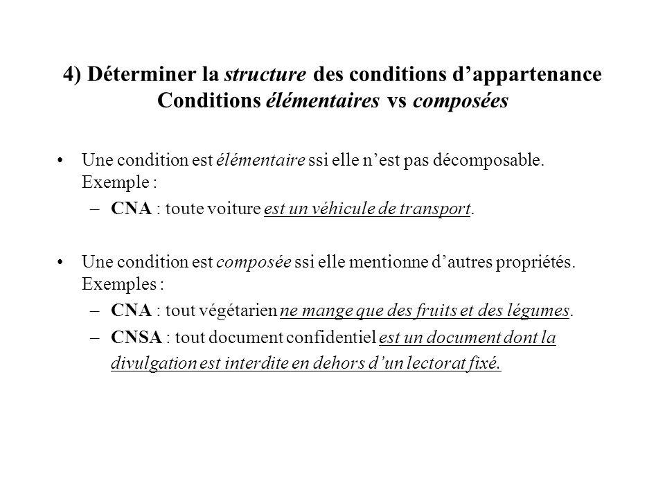 4) Déterminer la structure des conditions dappartenance Conditions élémentaires vs composées Une condition est élémentaire ssi elle nest pas décomposa