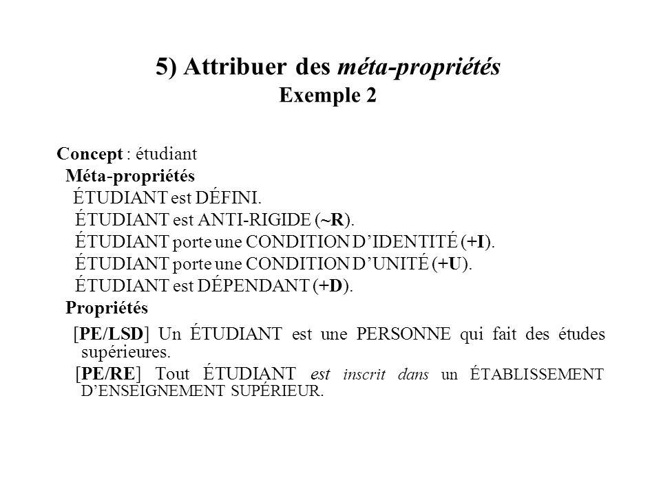 5) Attribuer des méta-propriétés Exemple 2 Concept : étudiant Méta-propriétés ÉTUDIANT est DÉFINI. ÉTUDIANT est ANTI-RIGIDE (~R). ÉTUDIANT porte une C
