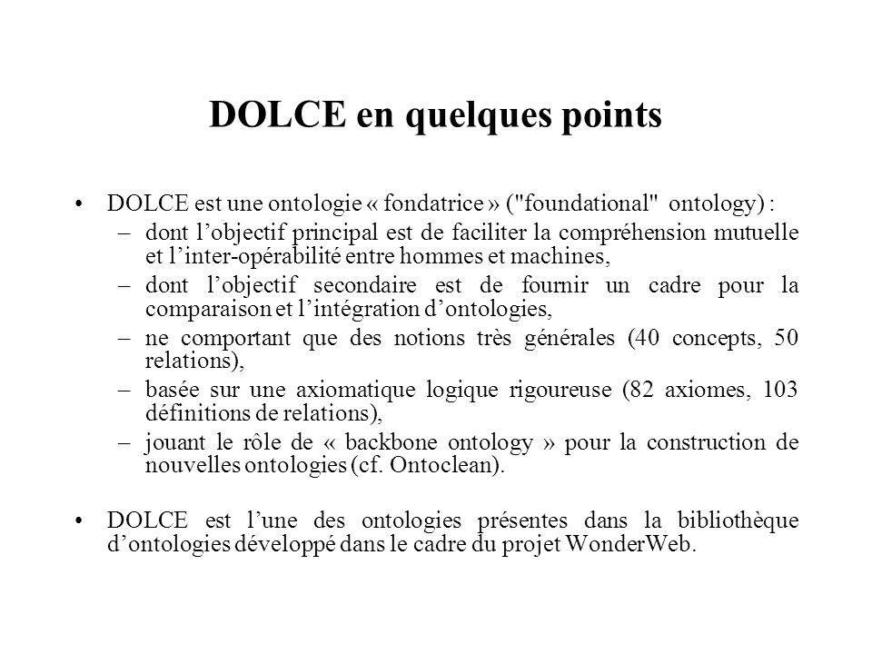 DOLCE en quelques points DOLCE est une ontologie « fondatrice » (