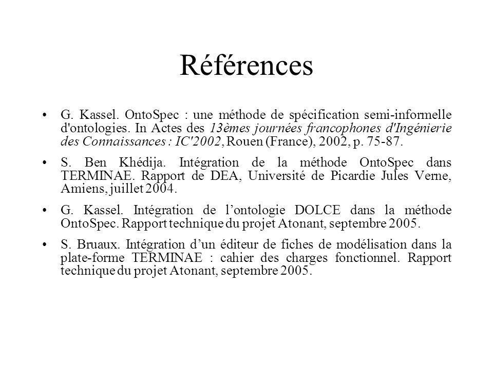 G. Kassel. OntoSpec : une méthode de spécification semi-informelle d'ontologies. In Actes des 13èmes journées francophones d'Ingénierie des Connaissan