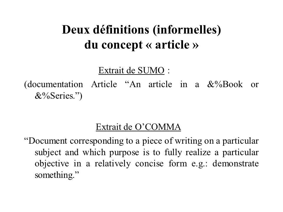 Deux définitions (informelles) du concept « article » Extrait de SUMO : (documentation Article An article in a &%Book or &%Series.) Extrait de OCOMMA