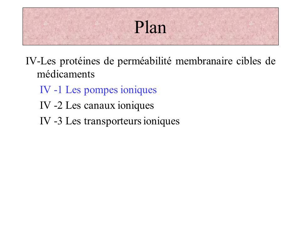 Plan IV-Les protéines de perméabilité membranaire cibles de médicaments IV -1 Les pompes ioniques IV -2 Les canaux ioniques IV -3 Les transporteurs io