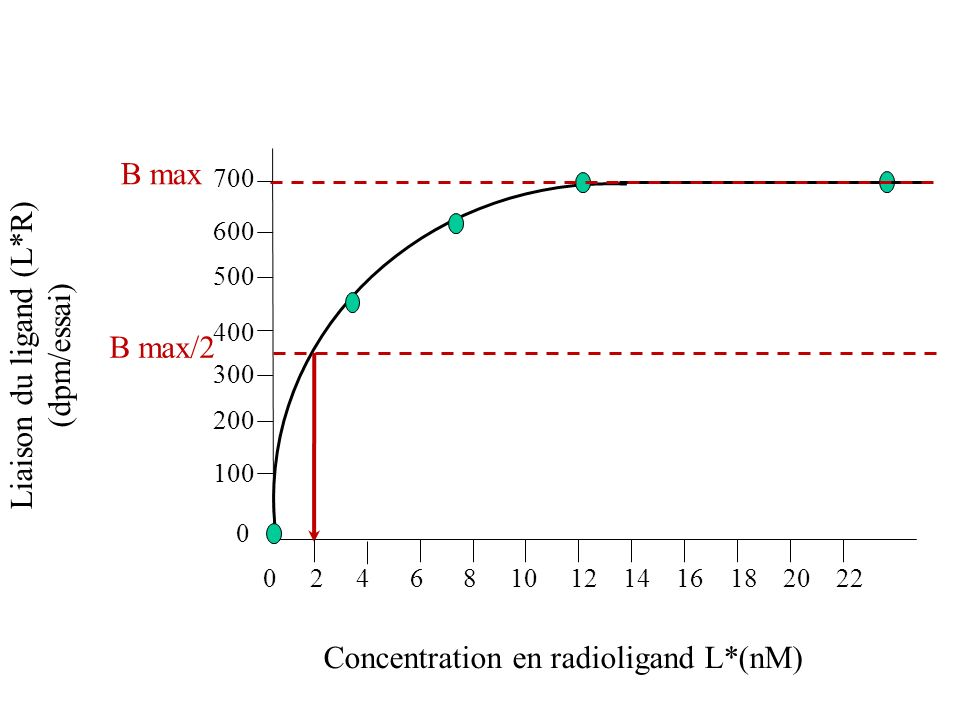 Liaison du ligand (L*R) (dpm/essai) Concentration en radioligand L*(nM) B max 0 100 200 300 400 500 600 700 B max/2 0 2 4 6 8 10 12 14 16 18 20 22