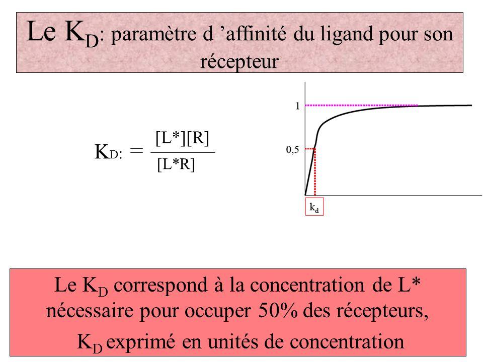 Le K D : paramètre d affinité du ligand pour son récepteur Le K D correspond à la concentration de L* nécessaire pour occuper 50% des récepteurs, K D