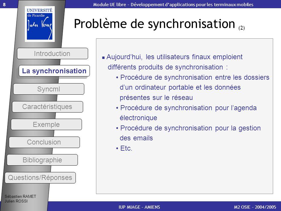 8 Problème de synchronisation (2) M2 OSIE – 2004/2005 Introduction IUP MIAGE – AMIENS Aujourdhui, les utilisateurs finaux emploient différents produit