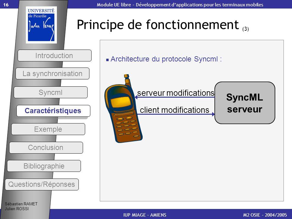 16 Principe de fonctionnement (3) M2 OSIE – 2004/2005IUP MIAGE – AMIENS Sébastien RAMET Julien ROSSI Module UE libre – Développement dapplications pou