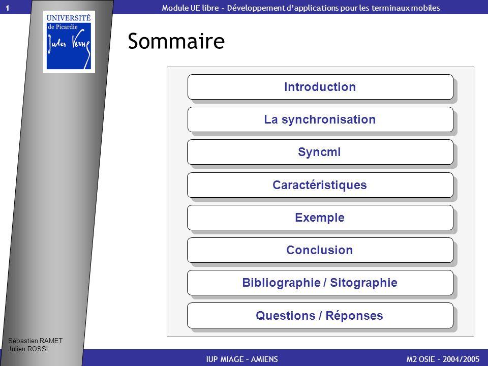 1 Sommaire M2 OSIE – 2004/2005 Module UE libre – Développement dapplications pour les terminaux mobiles Introduction Sébastien RAMET Julien ROSSI IUP