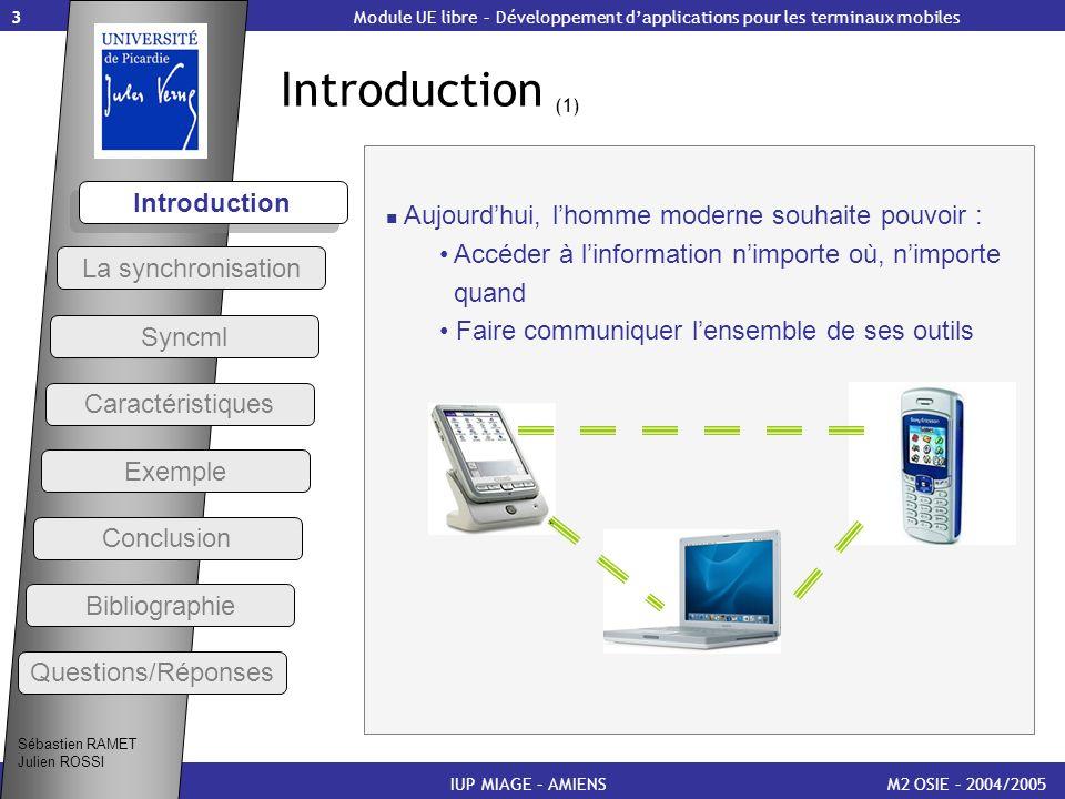 3 Introduction (1) M2 OSIE – 2004/2005 Introduction IUP MIAGE – AMIENS Module UE libre – Développement dapplications pour les terminaux mobiles Sébast