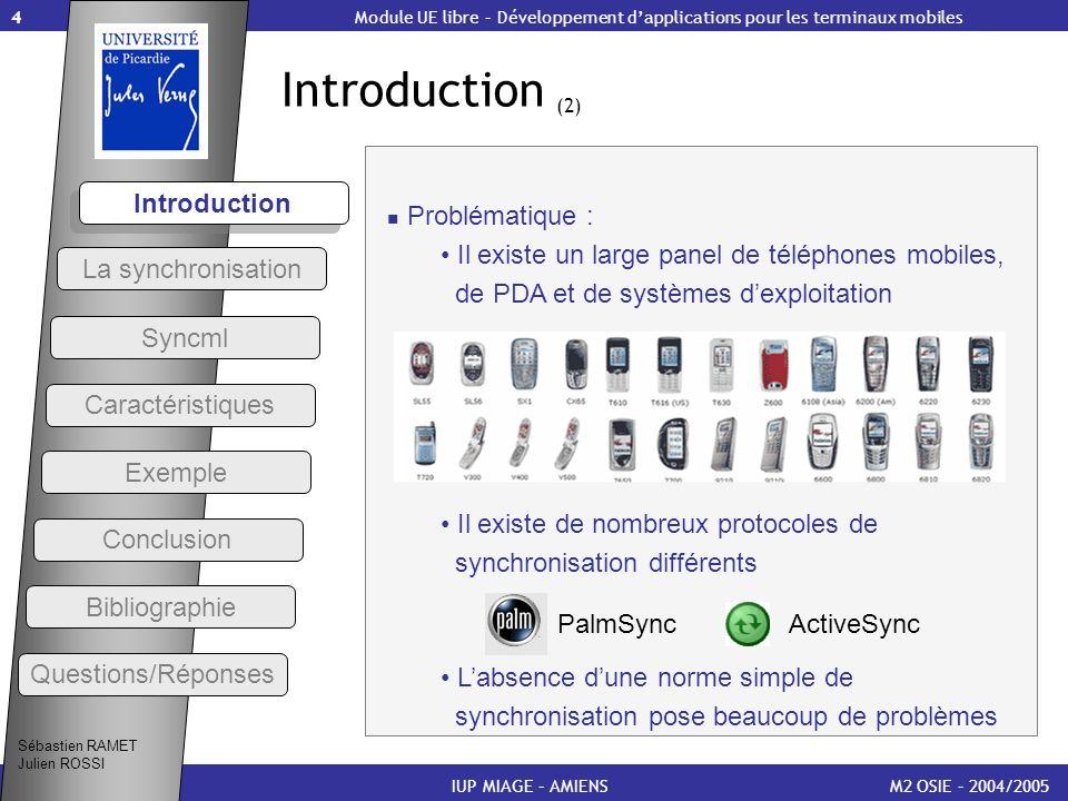 4 Introduction (2) M2 OSIE – 2004/2005 Introduction IUP MIAGE – AMIENS Module UE libre – Développement dapplications pour les terminaux mobiles Sébast