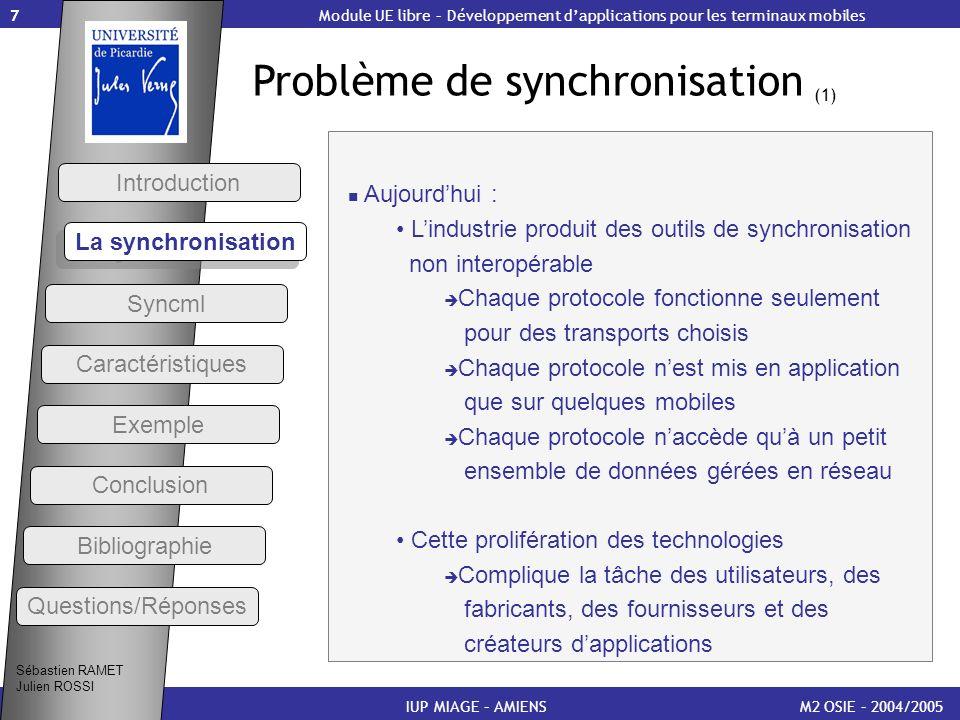 7 Problème de synchronisation (1) M2 OSIE – 2004/2005 Introduction IUP MIAGE – AMIENS Aujourdhui : Lindustrie produit des outils de synchronisation no