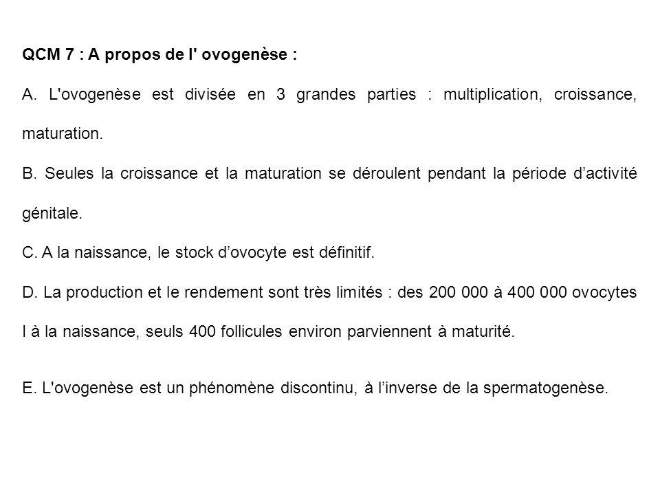 QCM 7 : A propos de l' ovogenèse : A. L'ovogenèse est divisée en 3 grandes parties : multiplication, croissance, maturation. B. Seules la croissance e