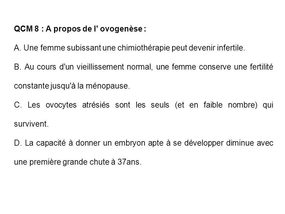 QCM 8 : A propos de l' ovogenèse : A. Une femme subissant une chimiothérapie peut devenir infertile. B. Au cours d'un vieillissement normal, une femme
