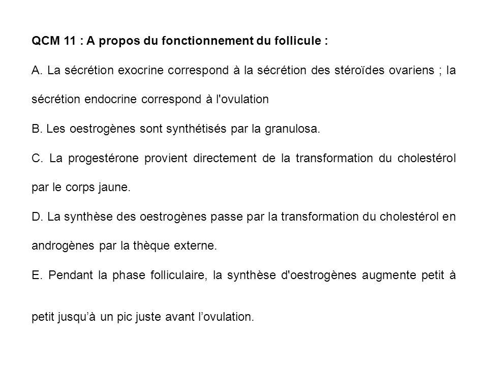 QCM 11 : A propos du fonctionnement du follicule : A. La sécrétion exocrine correspond à la sécrétion des stéroïdes ovariens ; la sécrétion endocrine