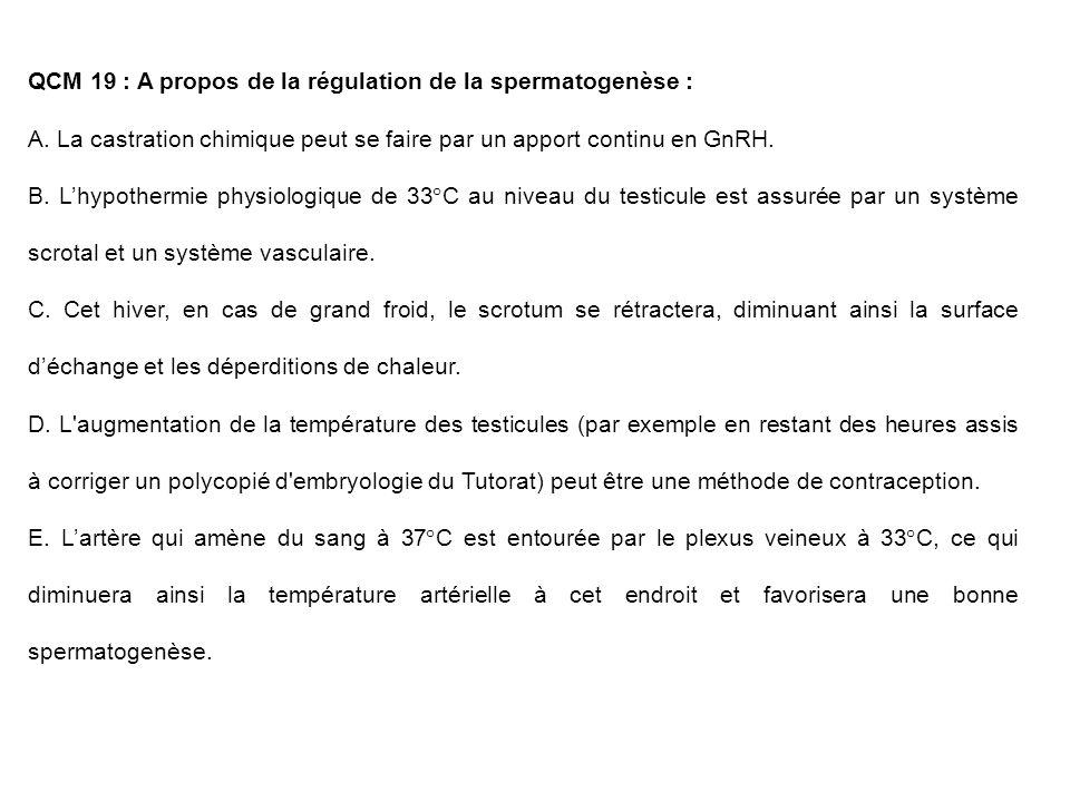 QCM 19 : A propos de la régulation de la spermatogenèse : A. La castration chimique peut se faire par un apport continu en GnRH. B. Lhypothermie physi