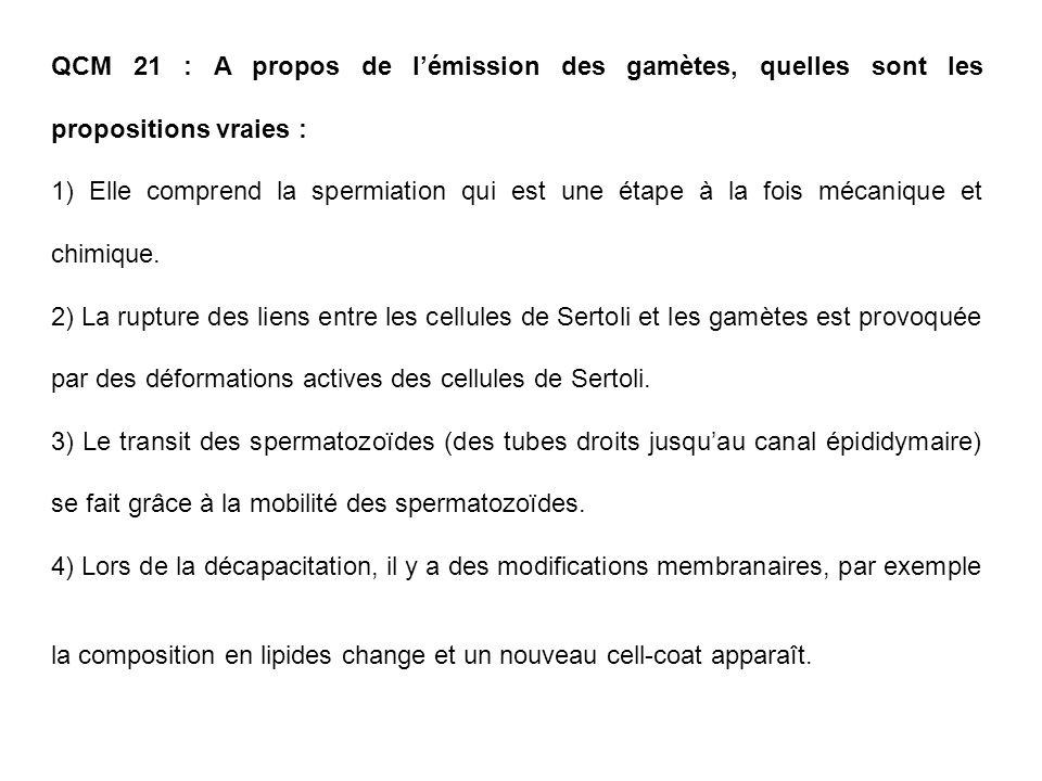 QCM 21 : A propos de lémission des gamètes, quelles sont les propositions vraies : 1) Elle comprend la spermiation qui est une étape à la fois mécaniq