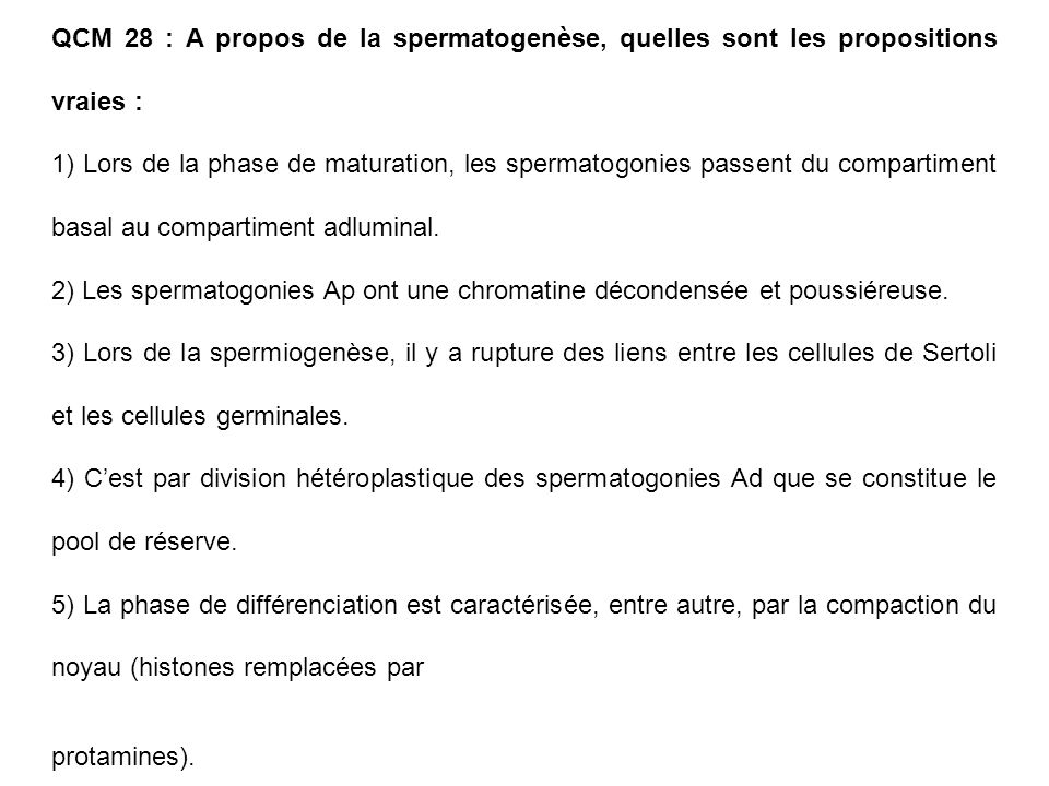 QCM 28 : A propos de la spermatogenèse, quelles sont les propositions vraies : 1) Lors de la phase de maturation, les spermatogonies passent du compar