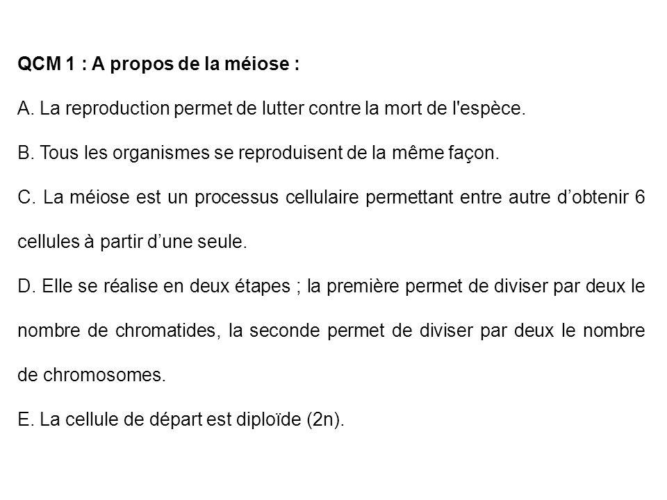 QCM 1 : A propos de la méiose : A. La reproduction permet de lutter contre la mort de l'espèce. B. Tous les organismes se reproduisent de la même faço