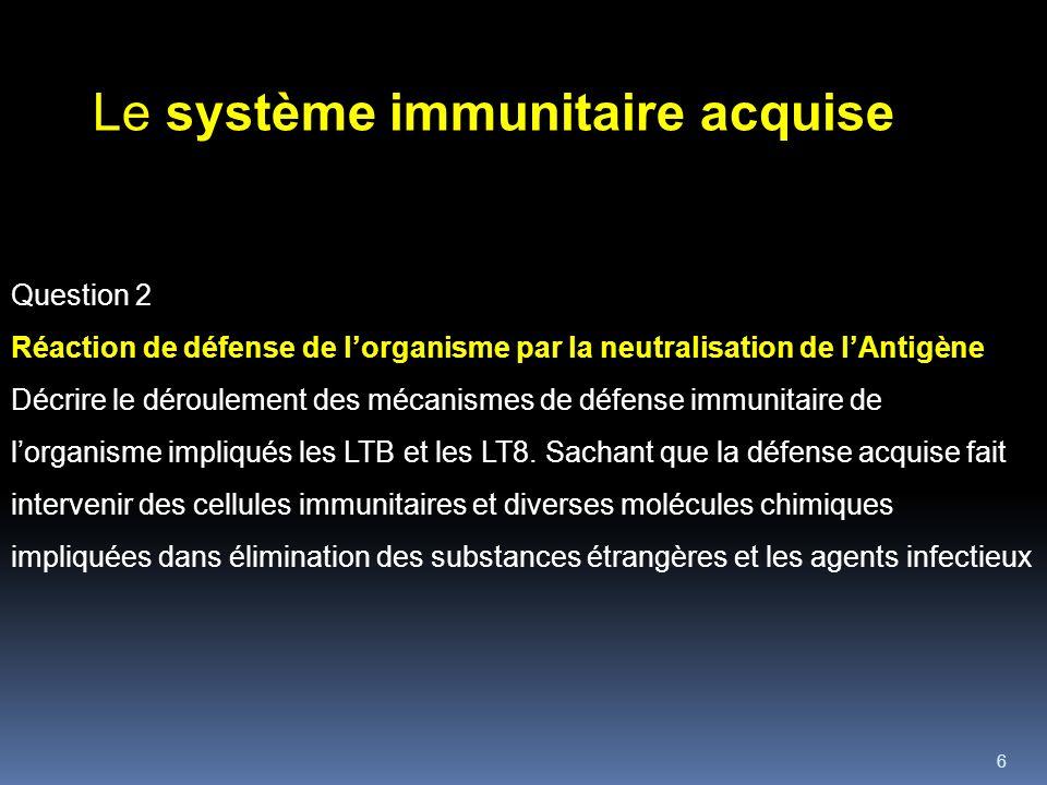 6 Question 2 Réaction de défense de lorganisme par la neutralisation de lAntigène Décrire le déroulement des mécanismes de défense immunitaire de lorganisme impliqués les LTB et les LT8.
