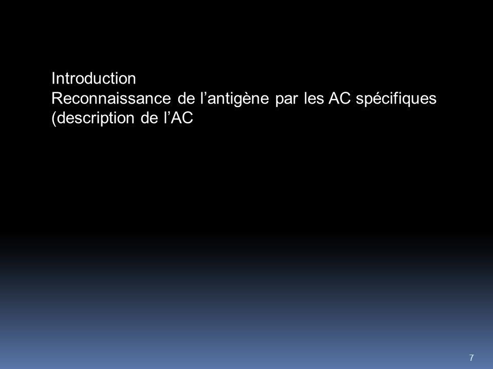 7 Introduction Reconnaissance de lantigène par les AC spécifiques (description de lAC