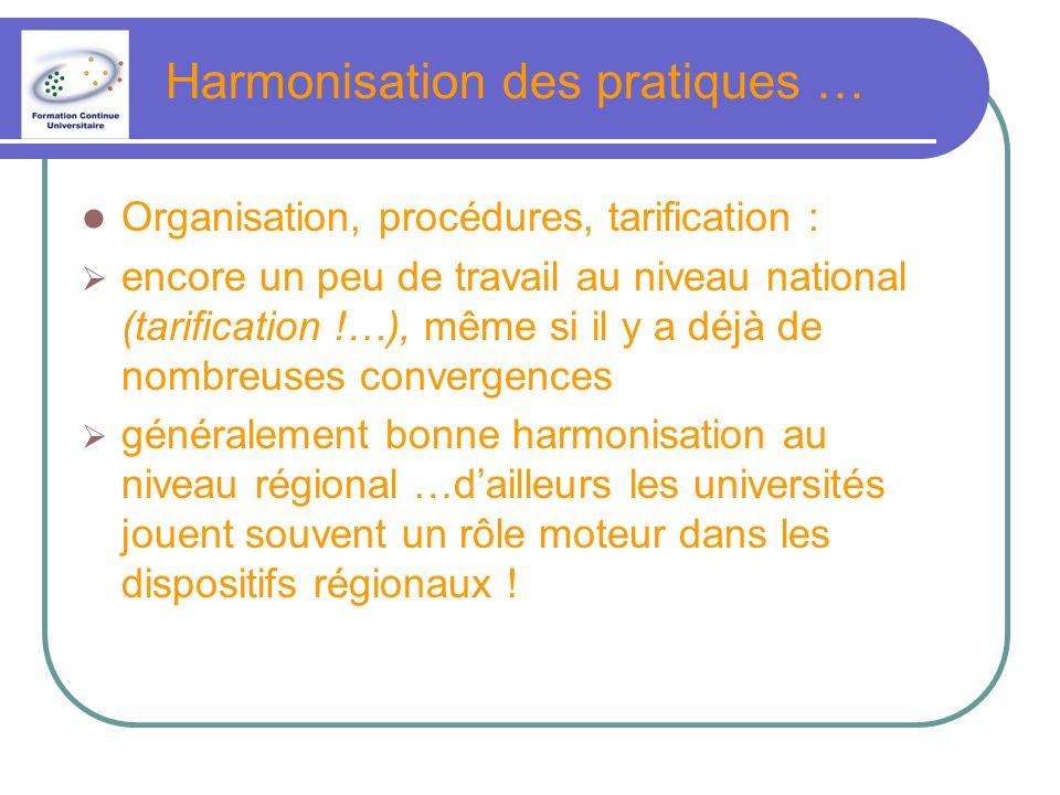 Harmonisation des pratiques … Organisation, procédures, tarification : encore un peu de travail au niveau national (tarification !…), même si il y a déjà de nombreuses convergences généralement bonne harmonisation au niveau régional …dailleurs les universités jouent souvent un rôle moteur dans les dispositifs régionaux !