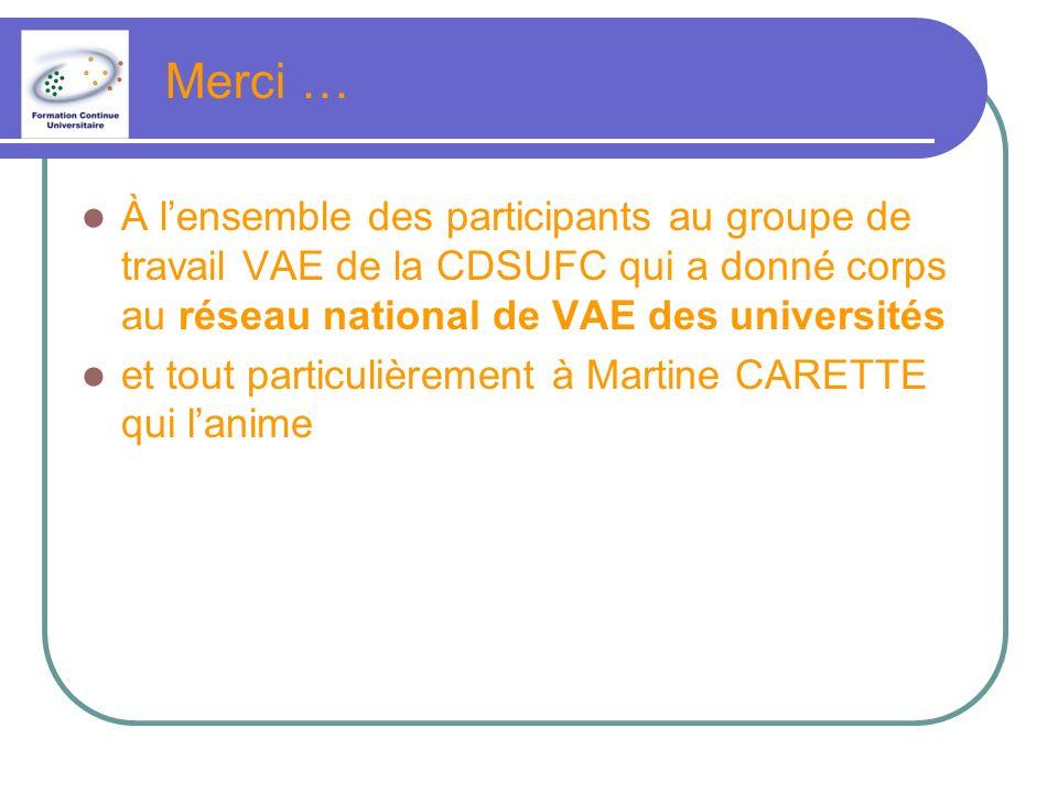 Merci … À lensemble des participants au groupe de travail VAE de la CDSUFC qui a donné corps au réseau national de VAE des universités et tout particulièrement à Martine CARETTE qui lanime