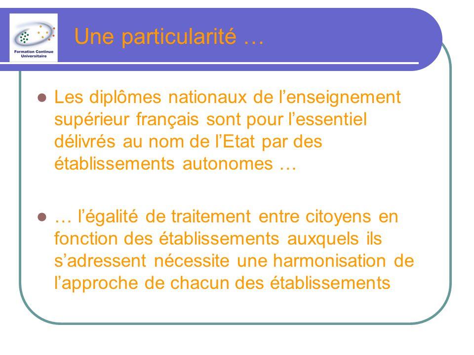 Une particularité … Les diplômes nationaux de lenseignement supérieur français sont pour lessentiel délivrés au nom de lEtat par des établissements autonomes … … légalité de traitement entre citoyens en fonction des établissements auxquels ils sadressent nécessite une harmonisation de lapproche de chacun des établissements