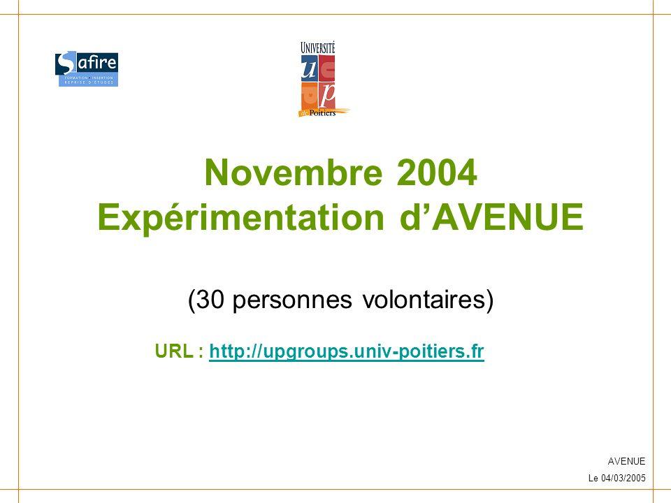 AVENUE Le 04/03/2005 Novembre 2004 Expérimentation dAVENUE (30 personnes volontaires) URL : http://upgroups.univ-poitiers.frhttp://upgroups.univ-poitiers.fr
