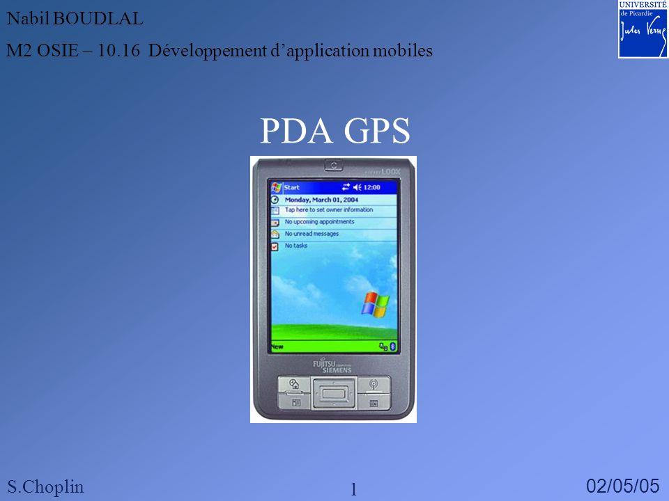 PDA GPS Nabil BOUDLAL M2 OSIE – 10.16 Développement dapplication mobiles S.Choplin 02/05/05 1