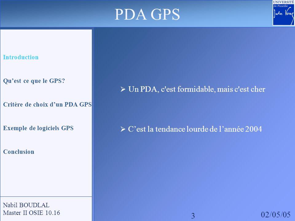 GPS: Global Positioning System - Le réseau de 24 satellites actuellement en fonctionnement - Sa précision peut atteindre 5 mètres - Lassociation dun récepteur GPS et dun logiciel de cartographie - Permet dobtenir un système de guidage routier efficace PDA GPS Nabil BOUDLAL Master II OSIE 10.16 4 Introduction Quest ce que le GPS.
