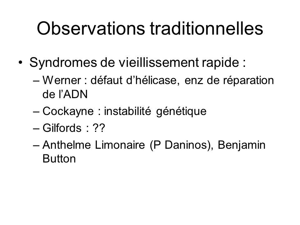 Observations traditionnelles Syndromes de vieillissement rapide : –Werner : défaut dhélicase, enz de réparation de lADN –Cockayne : instabilité généti