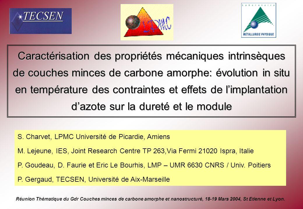 Caractérisation des propriétés mécaniques intrinsèques de couches minces de carbone amorphe: évolution in situ en température des contraintes et effet