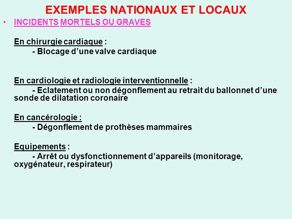 EXEMPLES NATIONAUX ET LOCAUX INCIDENTS MORTELS OU GRAVES En chirurgie cardiaque : - Blocage dune valve cardiaque En cardiologie et radiologie interven