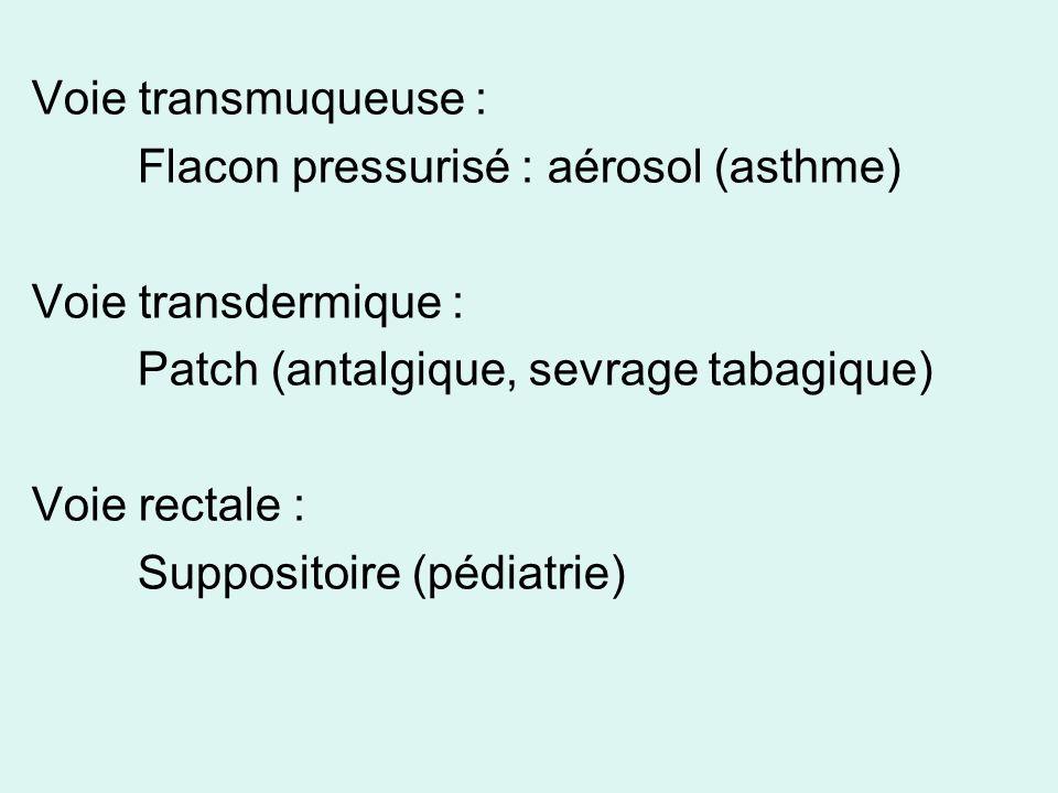 Voie transmuqueuse : Flacon pressurisé : aérosol (asthme) Voie transdermique : Patch (antalgique, sevrage tabagique) Voie rectale : Suppositoire (pédi