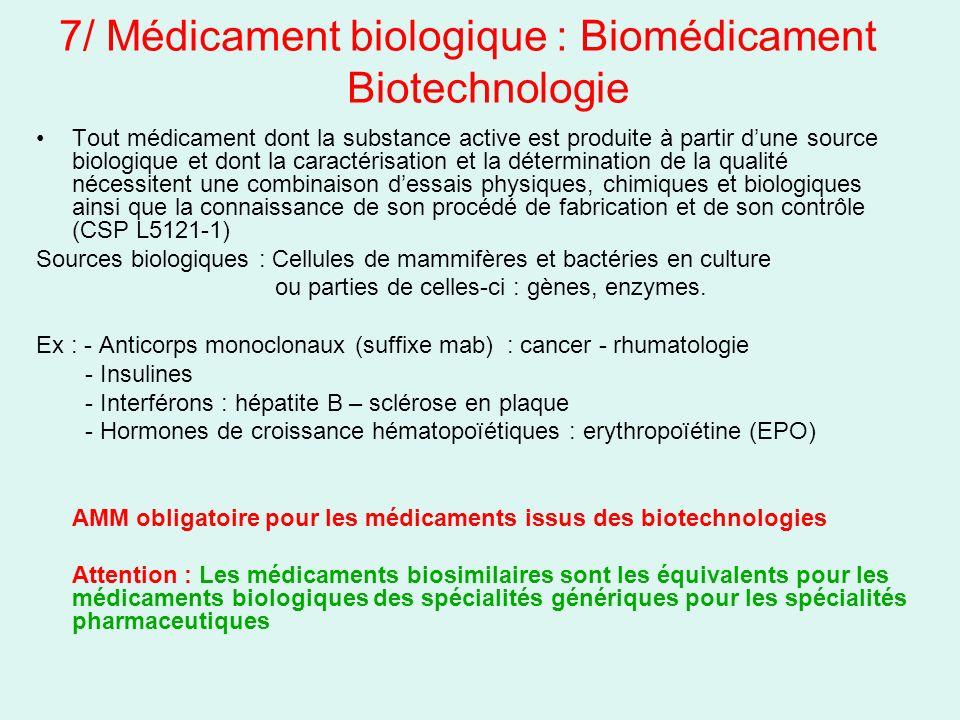 7/ Médicament biologique : Biomédicament Biotechnologie Tout médicament dont la substance active est produite à partir dune source biologique et dont