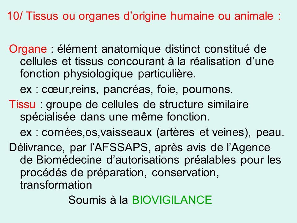 10/ Tissus ou organes dorigine humaine ou animale : Organe : élément anatomique distinct constitué de cellules et tissus concourant à la réalisation d