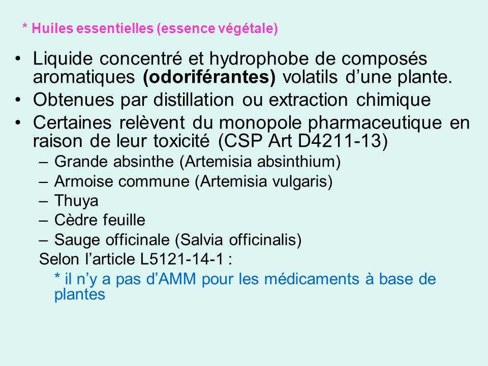 * Huiles essentielles (essence végétale) Liquide concentré et hydrophobe de composés aromatiques (odoriférantes) volatils dune plante. Obtenues par di