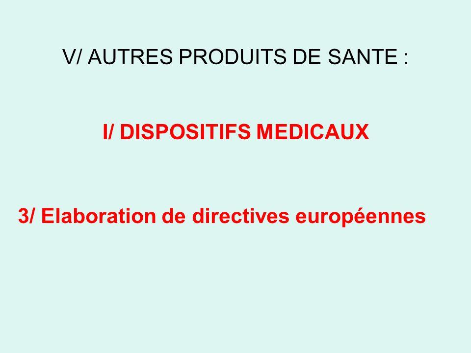 V/ AUTRES PRODUITS DE SANTE : I/ DISPOSITIFS MEDICAUX 3/ Elaboration de directives européennes
