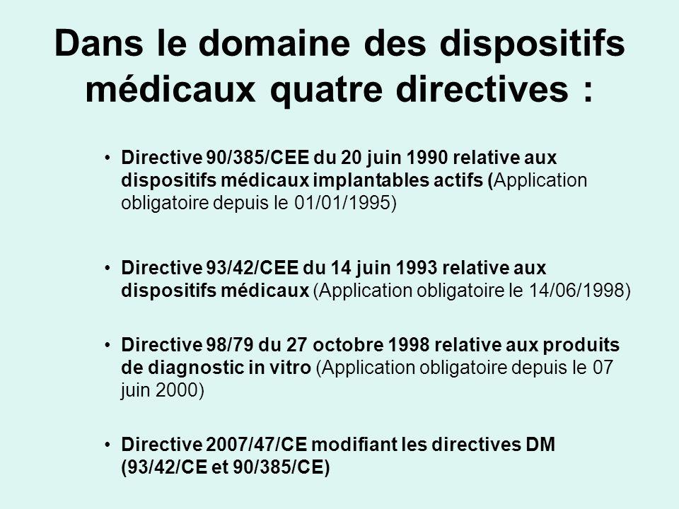 Dans le domaine des dispositifs médicaux quatre directives : Directive 90/385/CEE du 20 juin 1990 relative aux dispositifs médicaux implantables actif