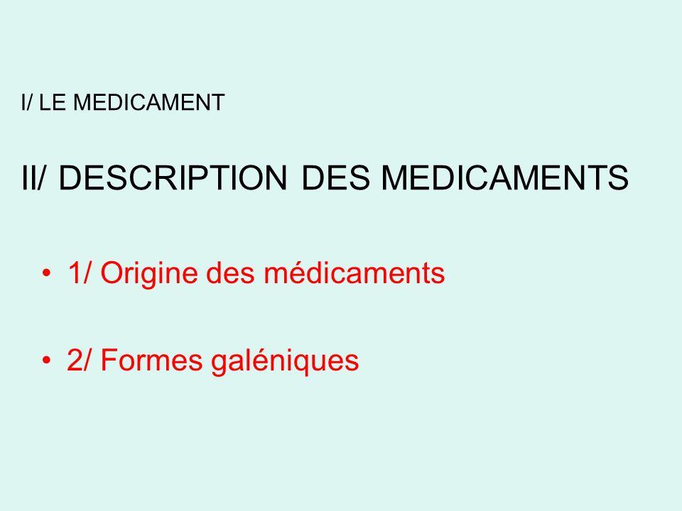 II/ DESCRIPTION DES MEDICAMENTS 1/ Origine des médicaments * Synthèse chimique : la majorité succession détapes de chimie organique * Hemi-synthèse synthèse dune molécule, à partir de composés naturels possédant déjà une partie de la molécule visée.