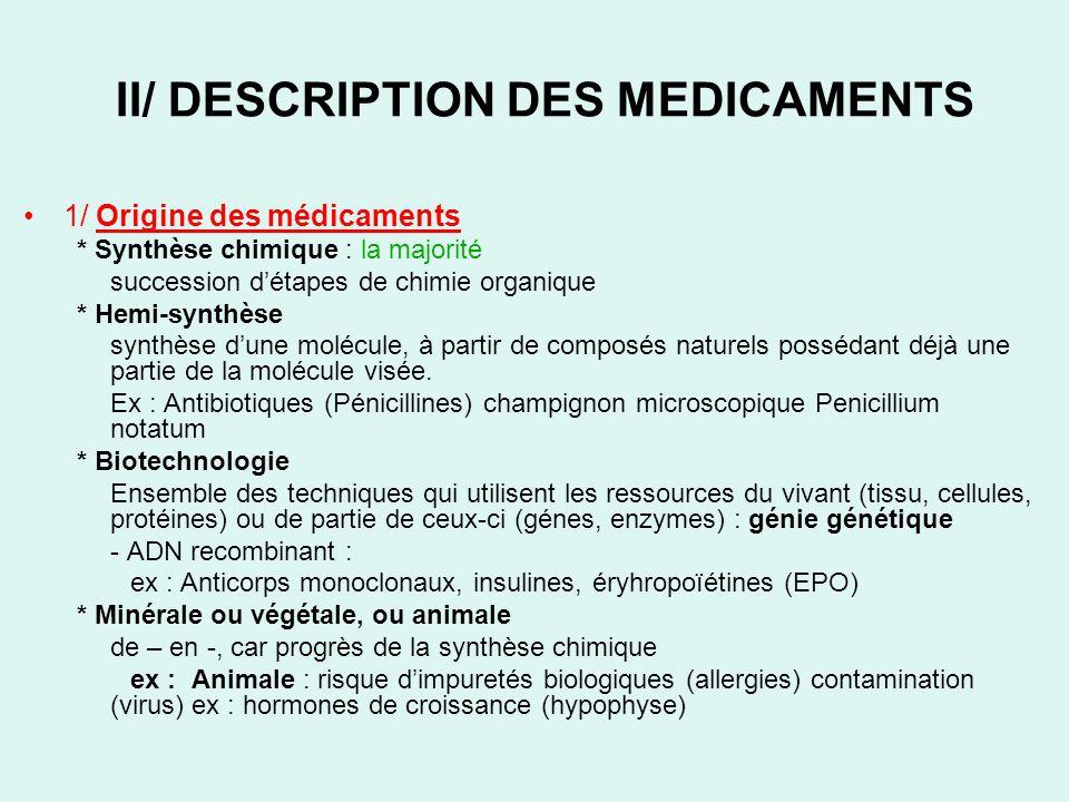A/ DENOMINATION La dénomination dun médicament peut être : –Soit un nom de fantaisie, commercial déposé par le fabricant Ex : DOLIPRANE –Soit une dénomination commune internationale Ex : PARACETAMOL