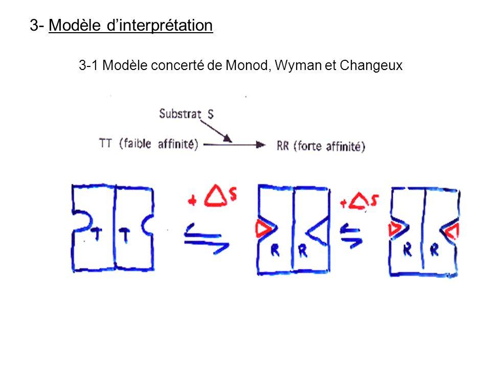 3- Modèle dinterprétation 3-1 Modèle concerté de Monod, Wyman et Changeux