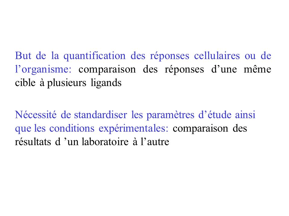 But de la quantification des réponses cellulaires ou de lorganisme: comparaison des réponses dune même cible à plusieurs ligands Nécessité de standard