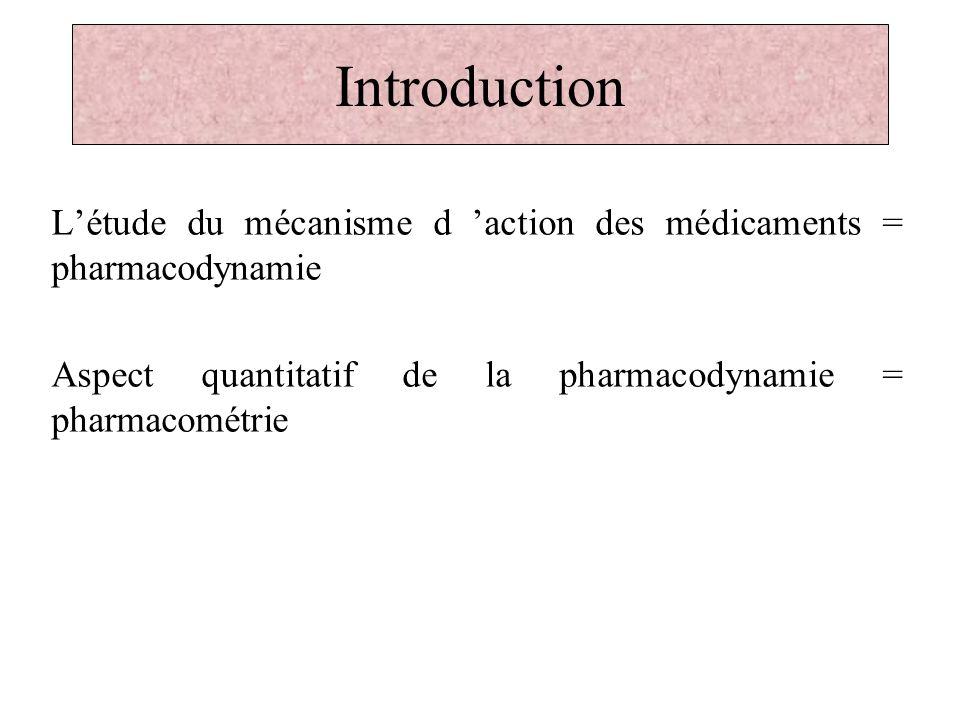 Introduction La pharmacométrie, étude des: -paramètres daffinité des médicaments pour leurs cibles: K D, ….