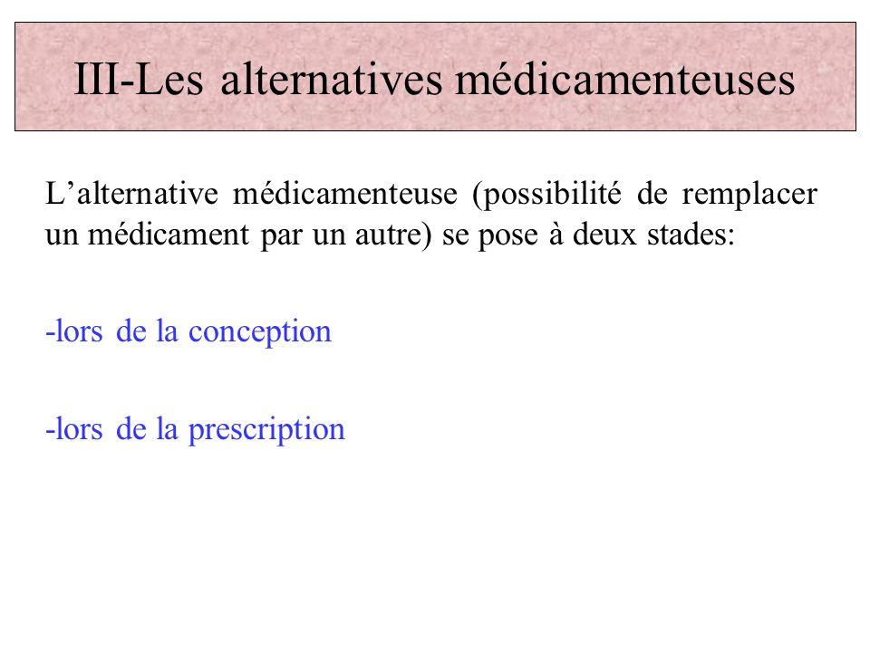 Lalternative médicamenteuse (possibilité de remplacer un médicament par un autre) se pose à deux stades: -lors de la conception -lors de la prescripti